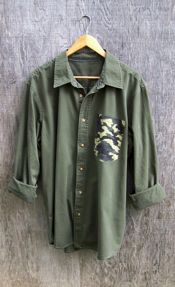 Camo pocket shirt army green olive avocado camouflage cotton for Olive green oxford shirt