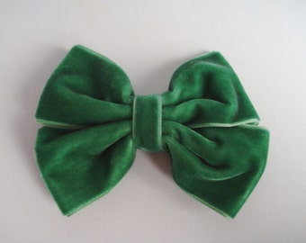 Green Bow - Velvet Bow - Double Tuxedo Bow - Green Velvet Hair Bow - Dressy Bow - Fall and Winter Bow - Pinwheel Bow - Boutique Hair Bow
