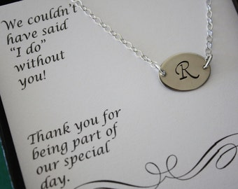 9 Personalized Initial Charm Bridesmaid Necklaces, Large Initial Charm, Bridesmaid Gift, Mom Necklace, Initial Tag