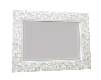 All White Wall Mirror, Large Mosaic Mirror, Neutral White Home Decor