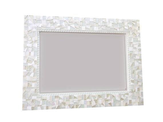 All White Wall Mirror Large Mosaic Mirror Neutral White Home