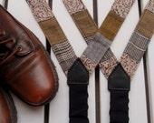 Fall Gray Suspenders, Military Suspender Belt For Women,Patchwork Braces - baboshkaa