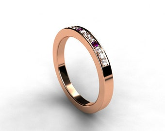 Amethyst and diamond wedding band, rose gold, white gold, yellow gold, half eternity, purple wedding ring, diamond eternity, amethyst