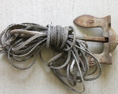 Vintage  5 lb.Cast Iron Boat Anchor with Rope  Industrial Salvage