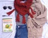 Fall Textured Triangle Cowl. Crochet Scarf with Fringe. Made-to-Order. Free Shipping to the US!