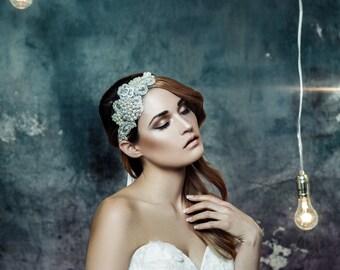 SALE - Crystal lace headpiece - bridal headpiece - lace bridal headband - crystal bridal headpiece - lace bridal headpiece - wedding headpie