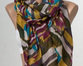 NEW Oversize Scarf , shawl , Fall neck wrap. Chocolate brown , mustard , turquoise , fuschia , cream. Ethnic kilim pattern. Tribal scarf.