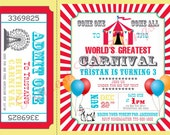 Carnival Circus Girl or Boy Birthday Party Bridal or Baby Shower Invitation Wedding Red Blue Yellow Tent Balloons Elephant Ferris Wheel