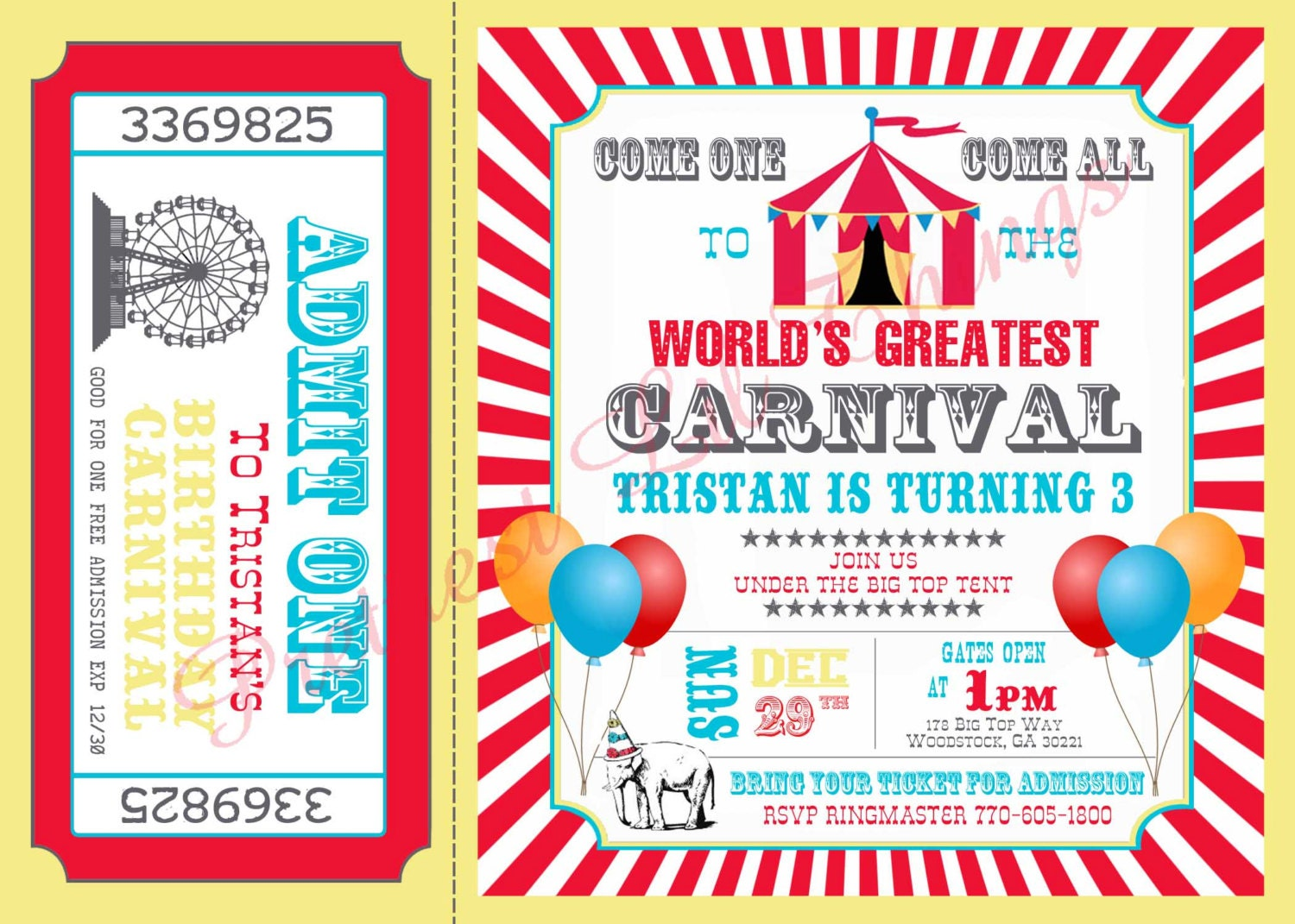 carnival circus girl or boy birthday party by