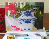 Flow Blue NOTE CARDS, Vintage Blue and White China, Blank, *Big Inventory Reduction Sale*