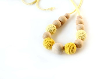 Yellow  Nursing Necklace - Breastfeeding Necklace - Teething necklace with crochet beads
