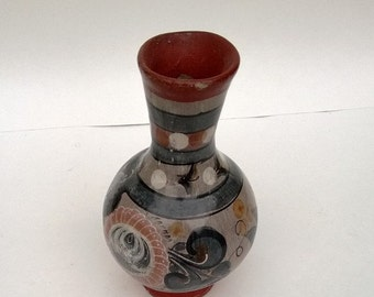 Vintage Pottery Vase From Mexico Hand-Painted Terracotta