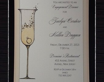 ENGAGEMENT, REHEARSAL, SHOWER Invitations:  Champagne glass with ring  Invites Personalized!