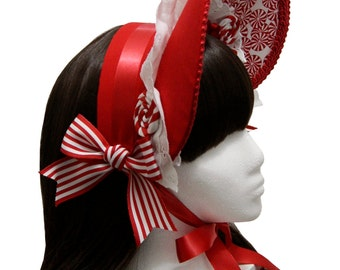 Sweet Peppermint Christmas Candy Gothic and Lolita Bonnet - Made to Order