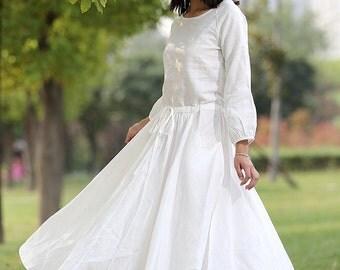 White linen dress long woman dress    C281