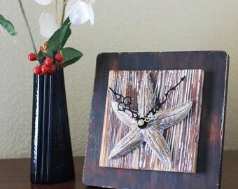 Starfish White-Washed Distressed Wood Wall Clock - Home Decor, Beach-Inspired, Nautical
