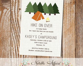 Rustic Hiking Camping Campfire Bonfire Birthday Invitation - Smores - S'mores Party - any event - choose your wording