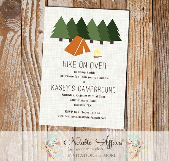 Rustic Hiking Camping Campfire Bonfire Birthday Invitation