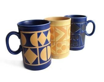 Vintage // Staffordshire Potteries // Three mugs // English ceramic // England