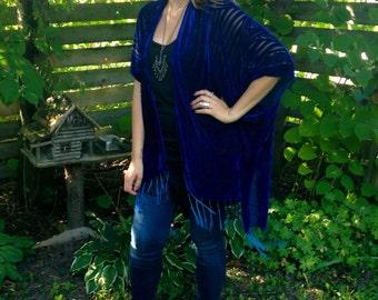 Velvet Kimono: Royal Blue Velvet Burnout Kimono Jacket Cover Up, Fringe, Poncho