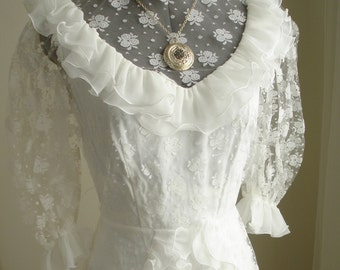 Vintage White Wedding Dress in Floral Lace and Rows of Ruffles from Belgium
