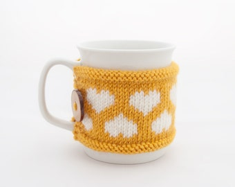 Cup Cozy in Yellow with Hearts, Knitted Mug Cozy, Coffee Cozy, Handmade Wooden Button, Coffee Cozy Sleeve, Warmer, Spring, Summer, Gift