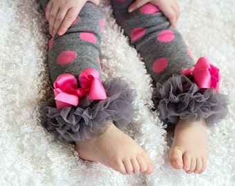 Gray and Pink Leg Warmers Baby Outfit  leggings pants with tulle ruffles