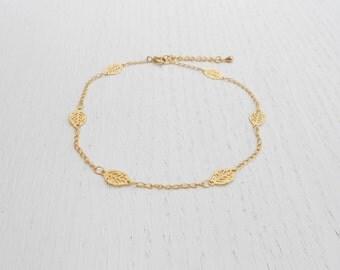 Summer SALE - Gold ankle bracelet, Gold leaf anklet