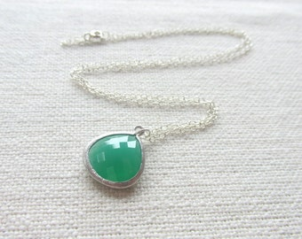 Emerald Green Necklace, Sterling Silver Minimalist Jewelry, Simple Glass Necklace