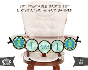 Frog Prince First Birthday Highchair Banner - DIY Printable Little Frog Prince Bunting Banner - Instant Digital PDF Download