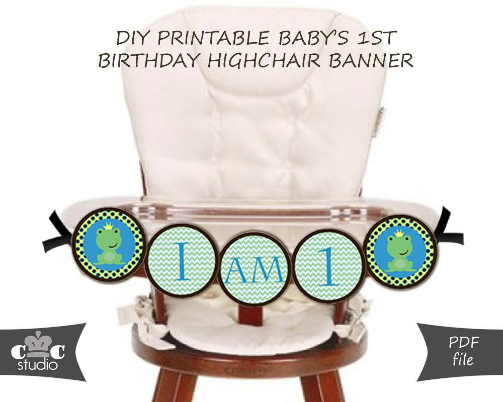 frog prince first birthday highchair banner diy printable