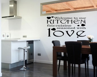 Welcome to our Kitchen Wall Decal Quote Kitchen Art Home Decor Wallpaper (498)