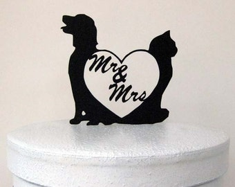 Wedding Cake Topper - Dog and Cat with Mr and Mrs