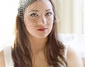 Wedding birdcage veil, bridal bird cage veil,  white, ivory, beige, pink French veil, pearls on lower edge Style 611