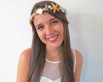 Sea Star Hair Crown -MermaidCrown- Beach Wedding Crown - Hair Accessory-Sea Shell Bridal Crown-Beach Wedding Hair Crown