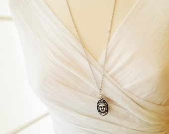 Buddha necklace, Buddhist Jewelry,Yogi gifts,Long layering necklace,Minimal Yoga necklace,Zen necklace,Double sided layering jewelry