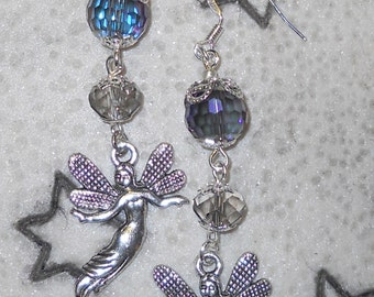 Magical Crystal Ball Fairy silver/pewter Dangle earrings, Faerie, Angel, Halloween