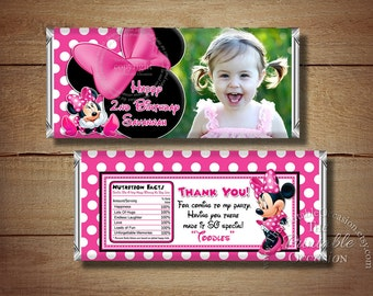 Printable Minnie Mouse Birthday Candy Bar Wrapper, Pink Polka Dot Minnie Mouse Photo Candy Bar Wrapper, Printable Wraps, Birthday Printables