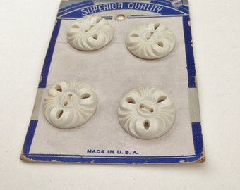 White Plastic Buttons - Flower Shaped, Superior Quality Brand, Four Buttons Tied to Original Card