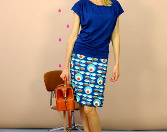 "Kimono dress ""REIKJA BLUE"" with shoulder fold"