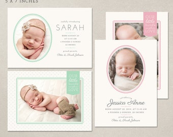 Birth Announcement Card Template - PSD instant download