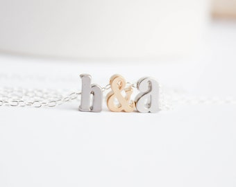 Love necklace, Engagement Gift, Letter Necklace, Gift for Her,  Couples necklace, Initial Necklace, Anniversary Gift, PD