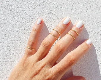 5 Gold Knuckle Rings - Gold Ring Set -  Gold Stacking Rings - Above the Knuckle Ring - Midi Rings - Gold Ring Set of 5 by Tiny Box