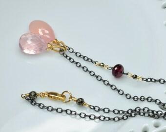 Rose Quartz, Pink Chalcedony, Crimson Red Garnet, Pyrite Oxidized Silver Necklace