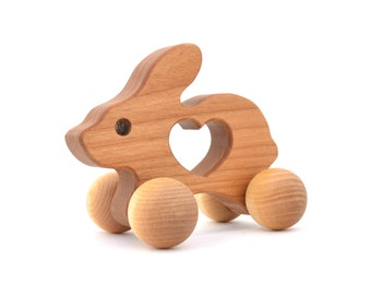 Wooden Bunny Push Toy - Waldorf Wood Animal Toy -  Natural Rabbit Push Toy for Babies and Toddlers - Montessori Inspired Eco-Friendly Play