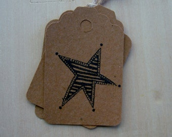 Rustic Farmhouse Hang Tag Folk art Barn Star Gift tag DIY paper crafting Kraft Cardstock set 25 Tags