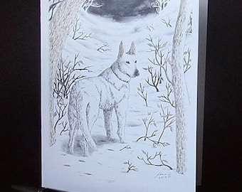 DONATE to Hunter Animal Rescue: CABAL CARD 'White Wanderland', featuring Neil Gaiman's dog