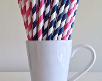 Pink and Navy Paper Straws Dark Pink and Navy Blue Striped Gender Reveal Party Supplies Party Decor Bar Cart  Party Graduation