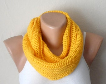 yellow knit infinity scarf yellow circle scarf winter scarf infinity scarf loop scarf shawls