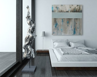 Large Abstract Painting in Modern Teal and Grey Textured Sea Green Artwork
